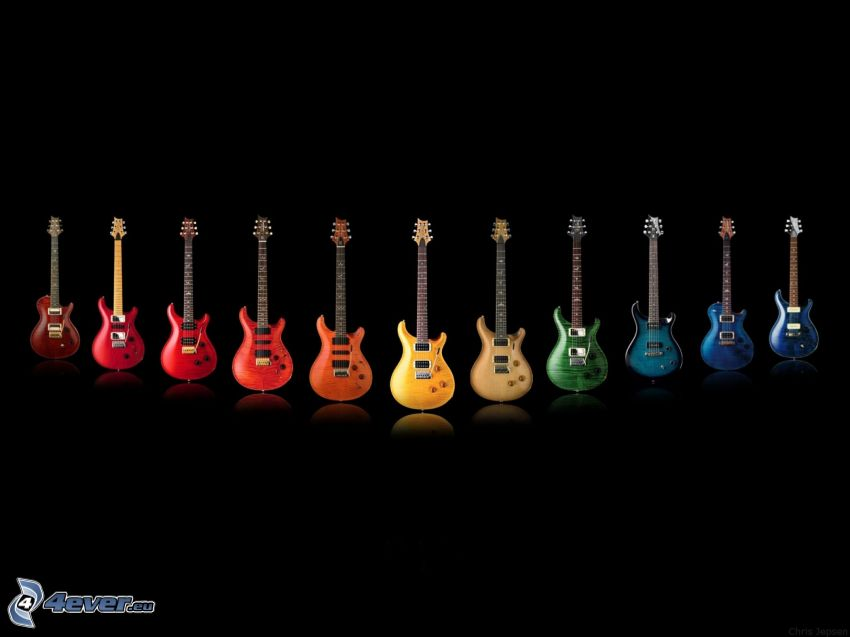 electric guitars, colored