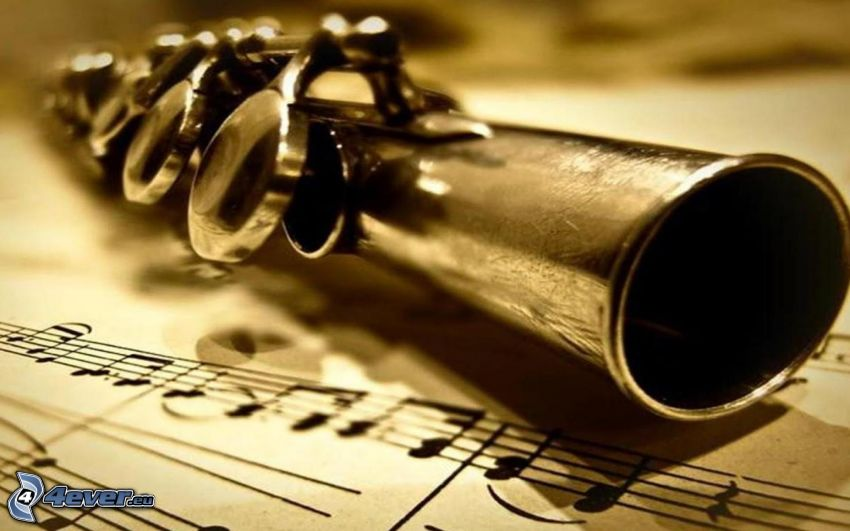 flute, sheet of music, sepia