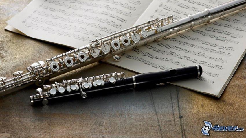 flute, sheet of music
