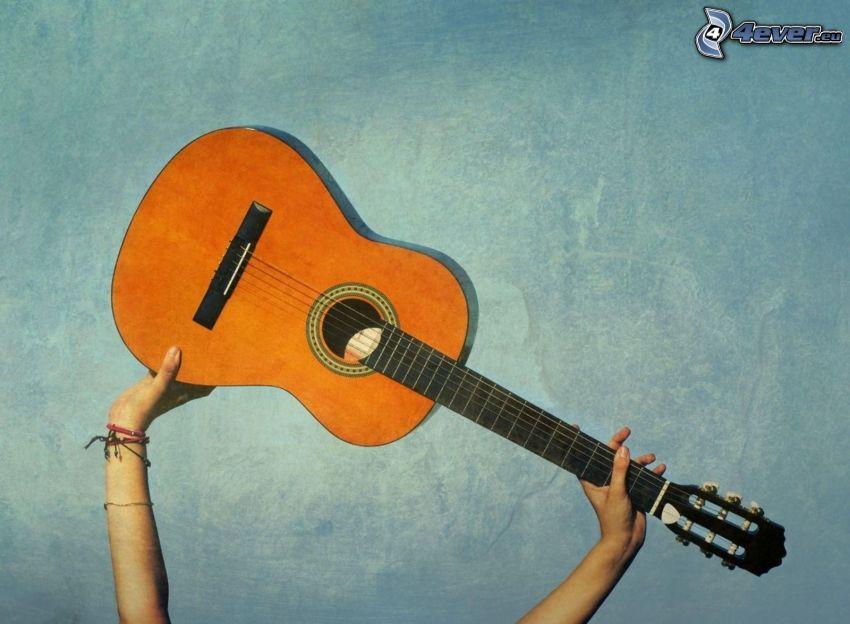 guitar, hands