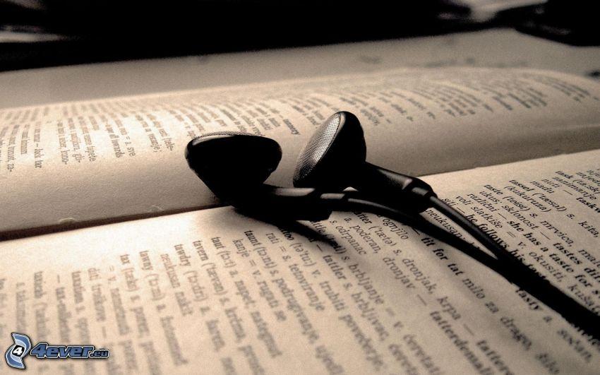 headphones, book