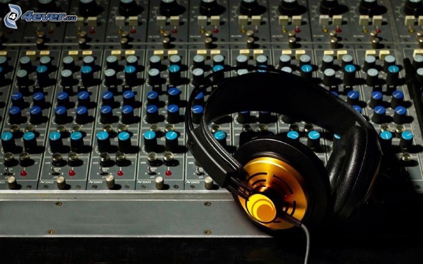 headphones, DJ console