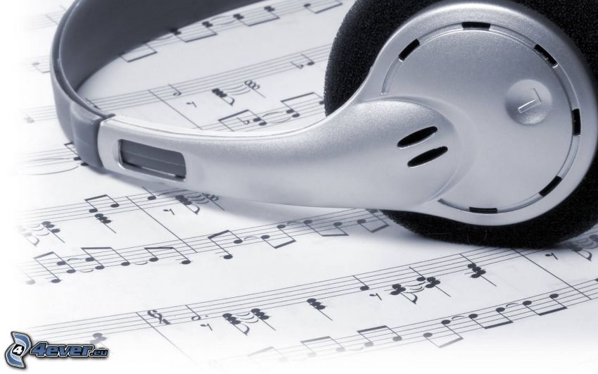 headphones, sheet of music