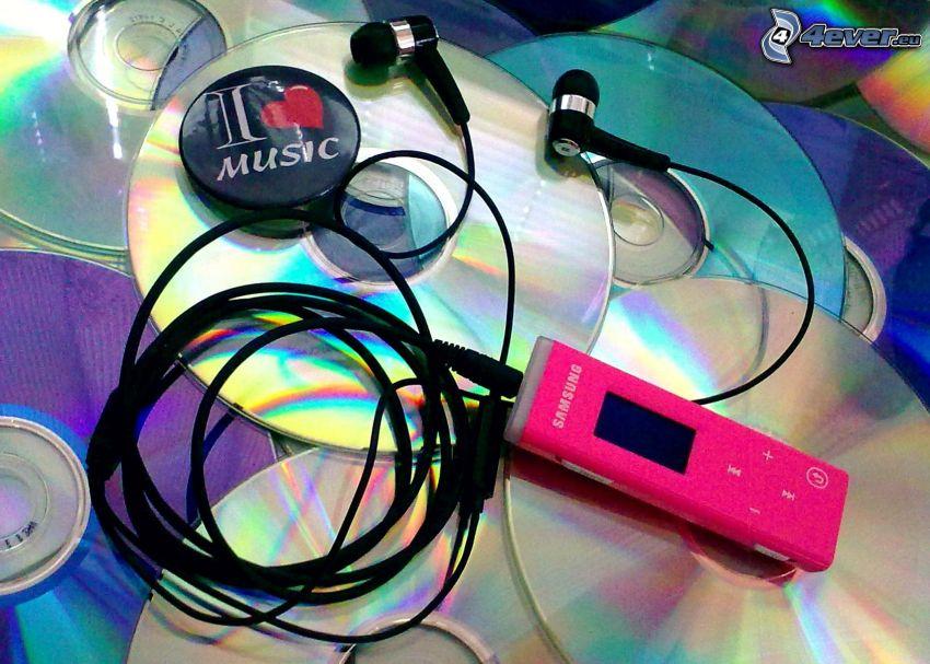 I <3 Music, CD, mp3 player, headphones