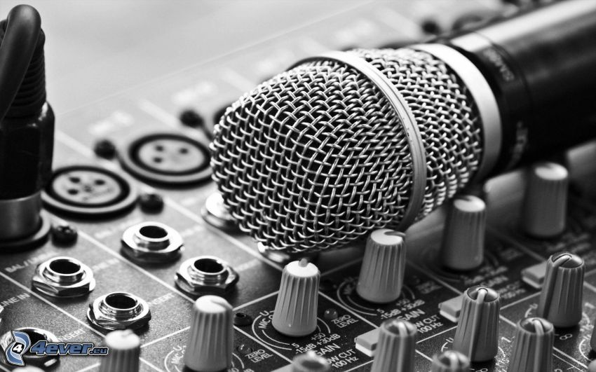 microphone, DJ console, black and white photo