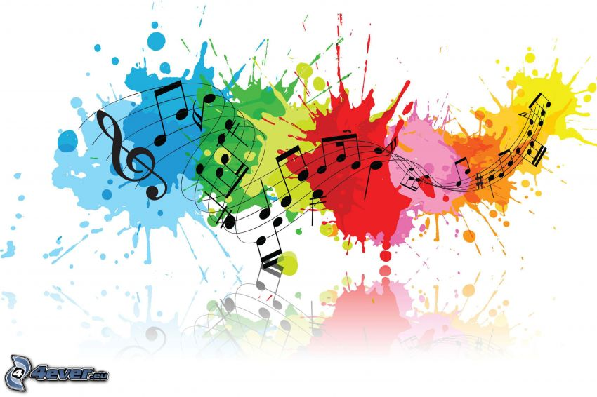 music, sheet of music, clef, color splash