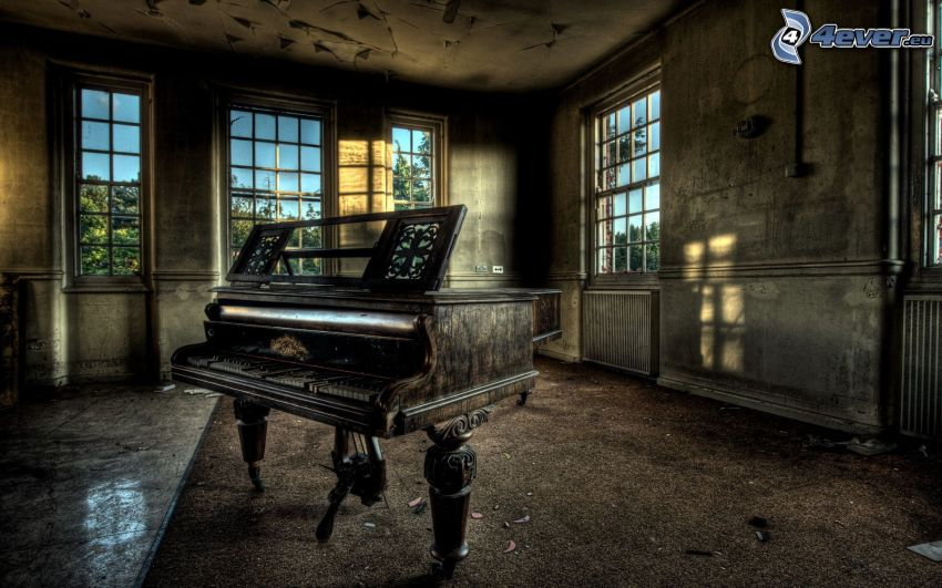 old piano, old building, HDR