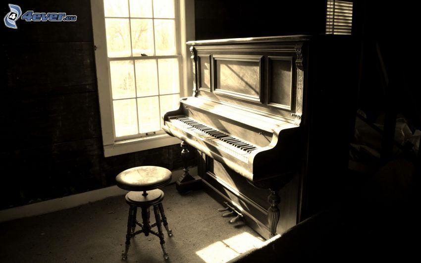 old piano, window