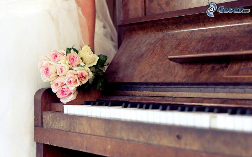 piano, bouquet of roses, bride