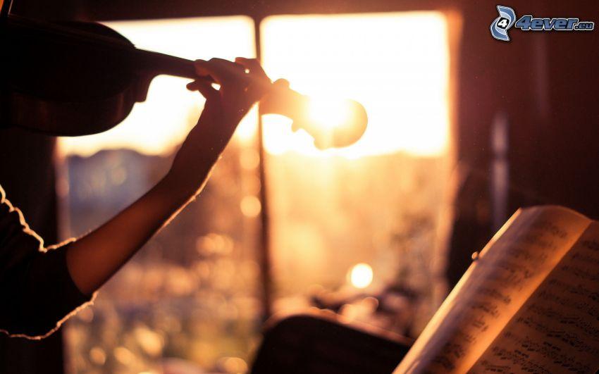 play the violin, sheet of music, sun