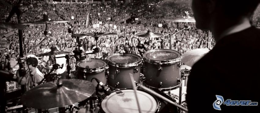 playing drums, concert, black and white photo