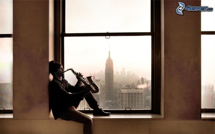 saxophonist, window, view of the city, Empire State Building