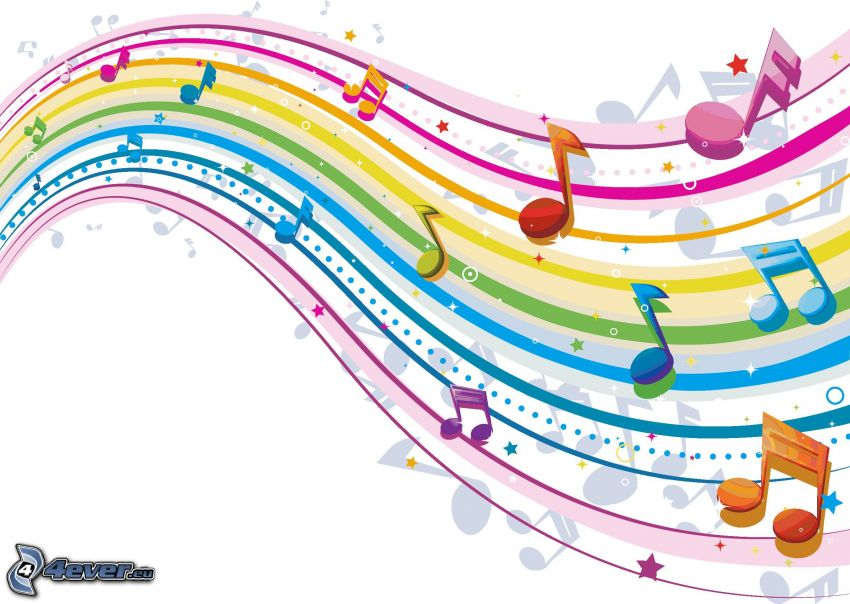 sheet of music, colored lines, colorful background, cartoon