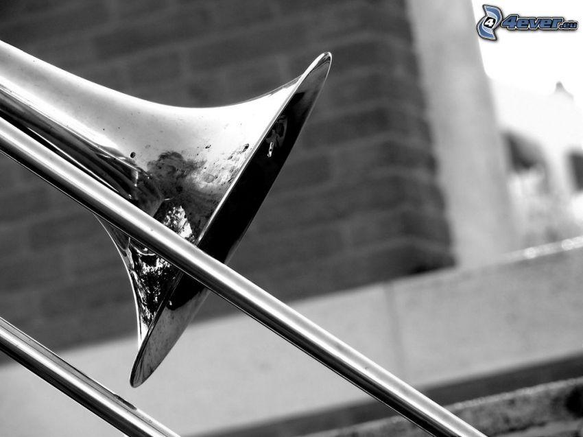 trombone, black and white photo