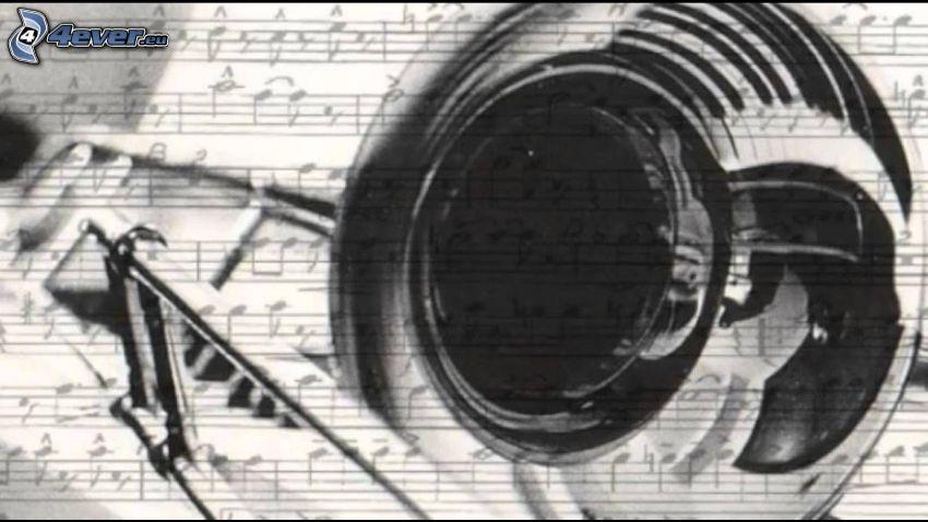 trombone, sheet of music