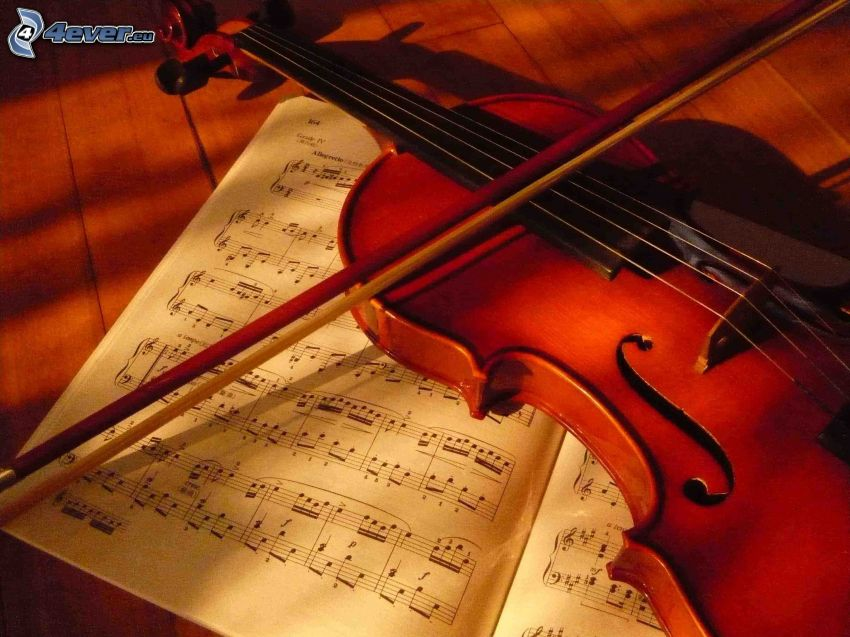 violin, bow, sheet of music