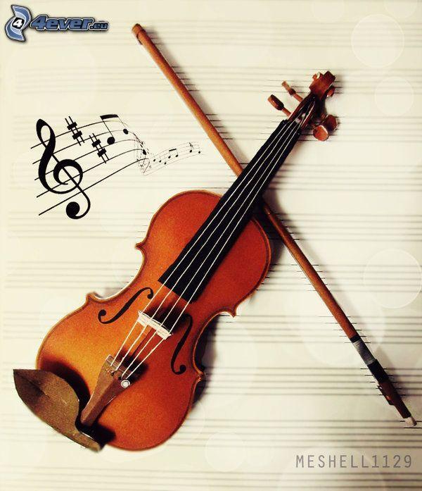 violin, sheet of music, bow