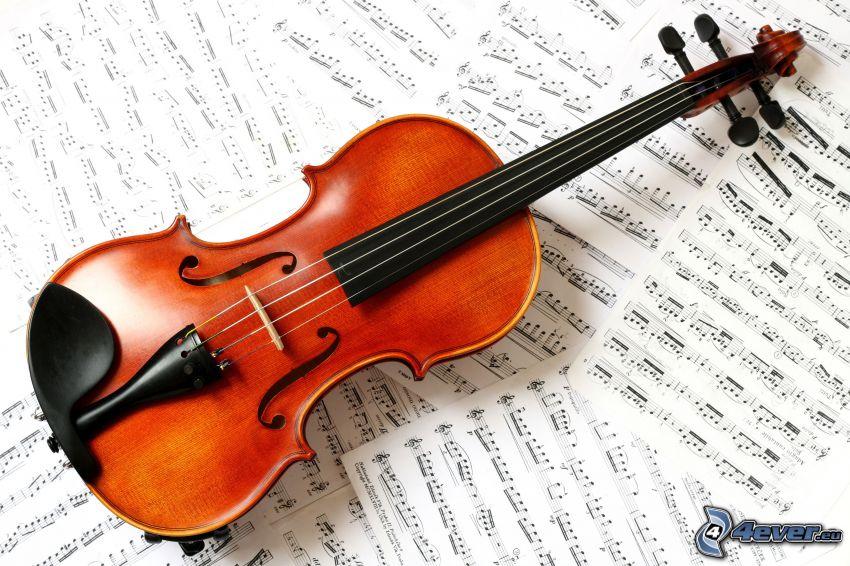 violin, sheet of music