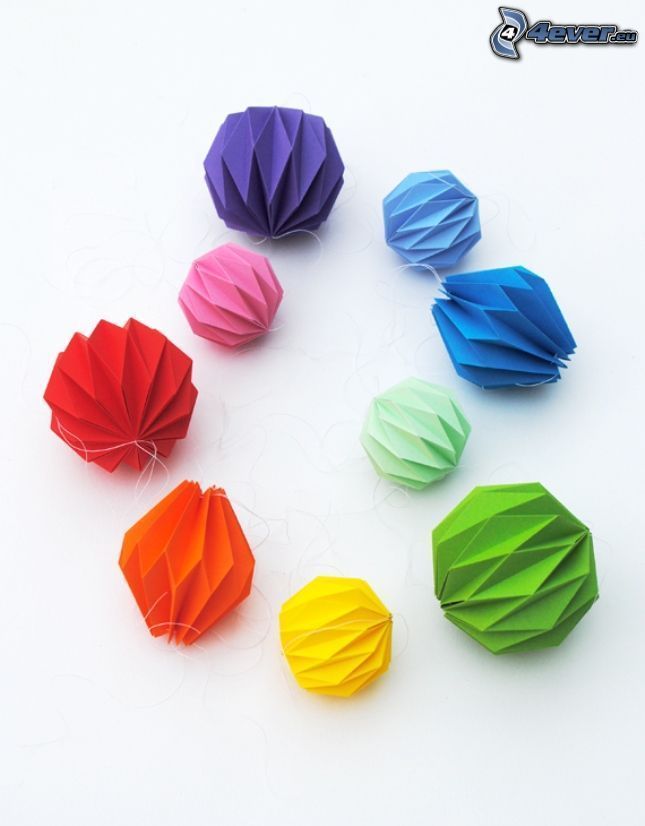 origami, colored balls