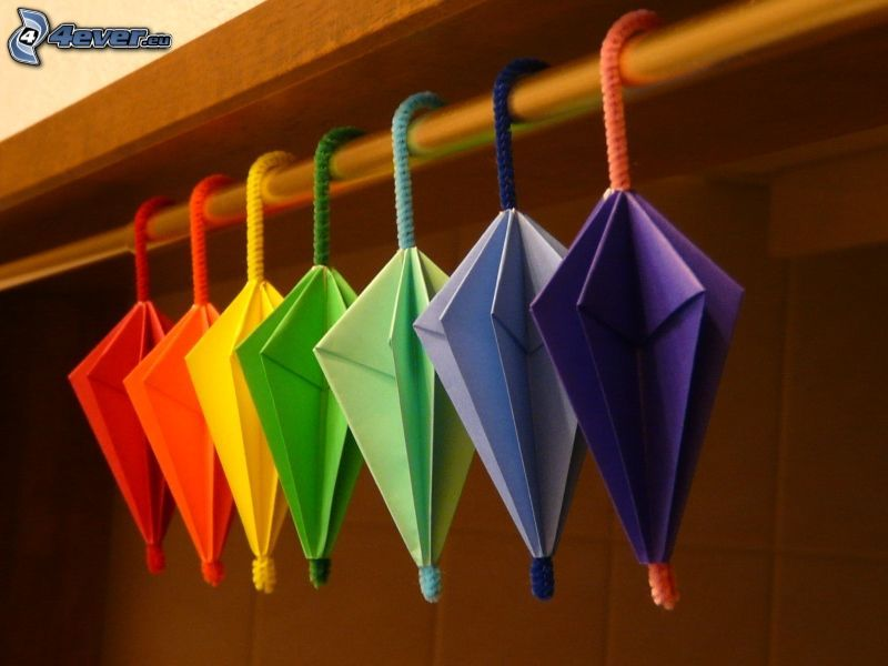 origami, umbrellas, colored papers