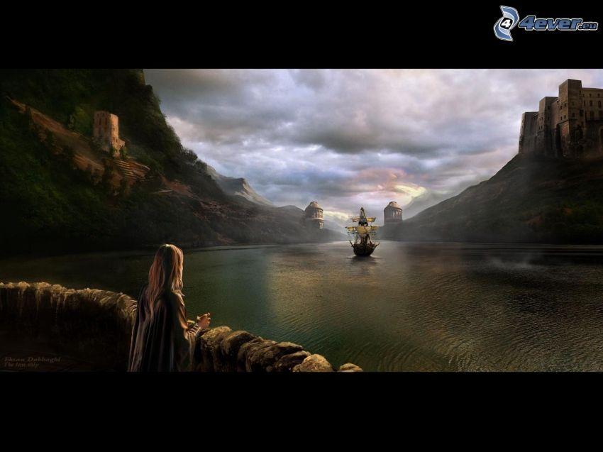 picture, sailing boat, ship, castle