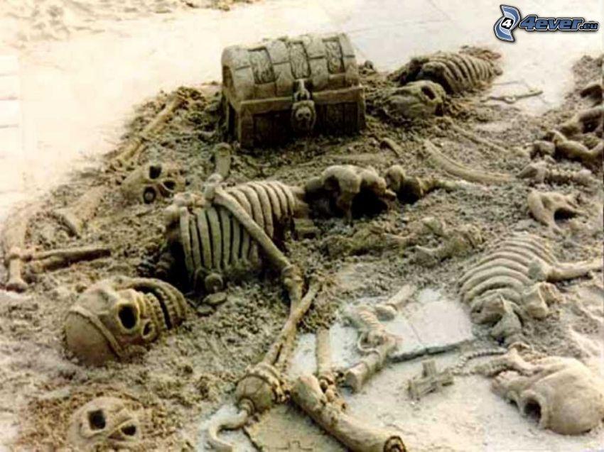 pirate, chest, sand sculptures
