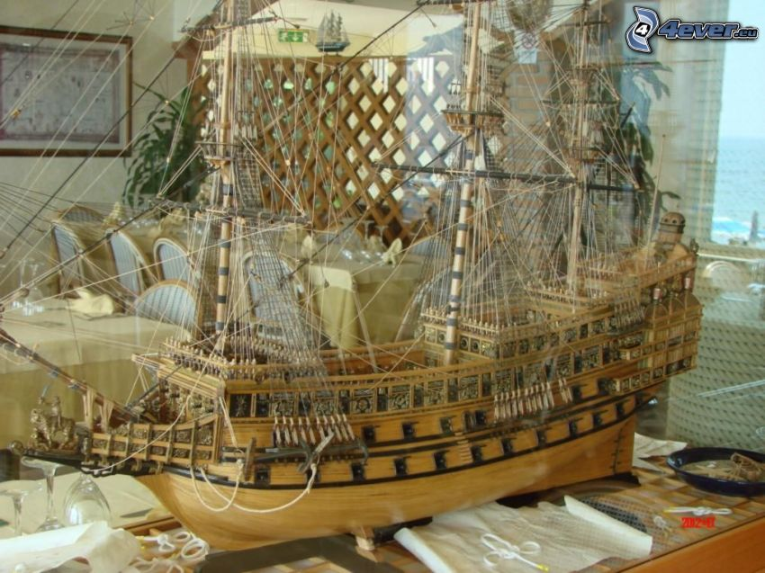 sailing boat, model, restaurant