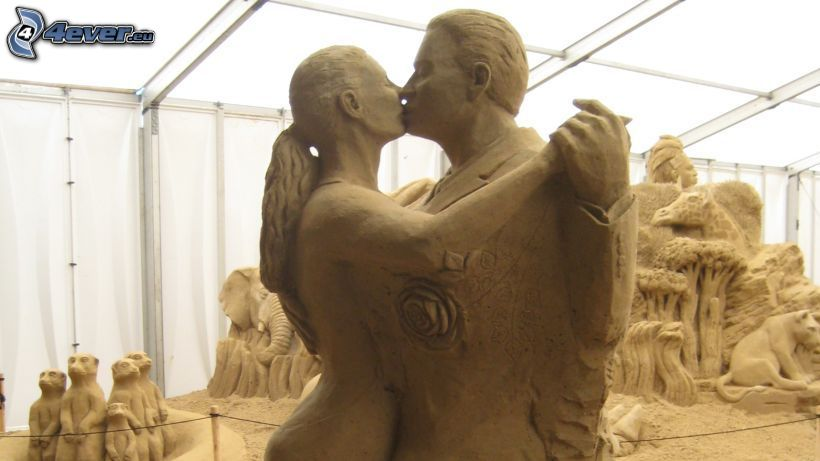 sand sculptures, couple, man and woman, dance