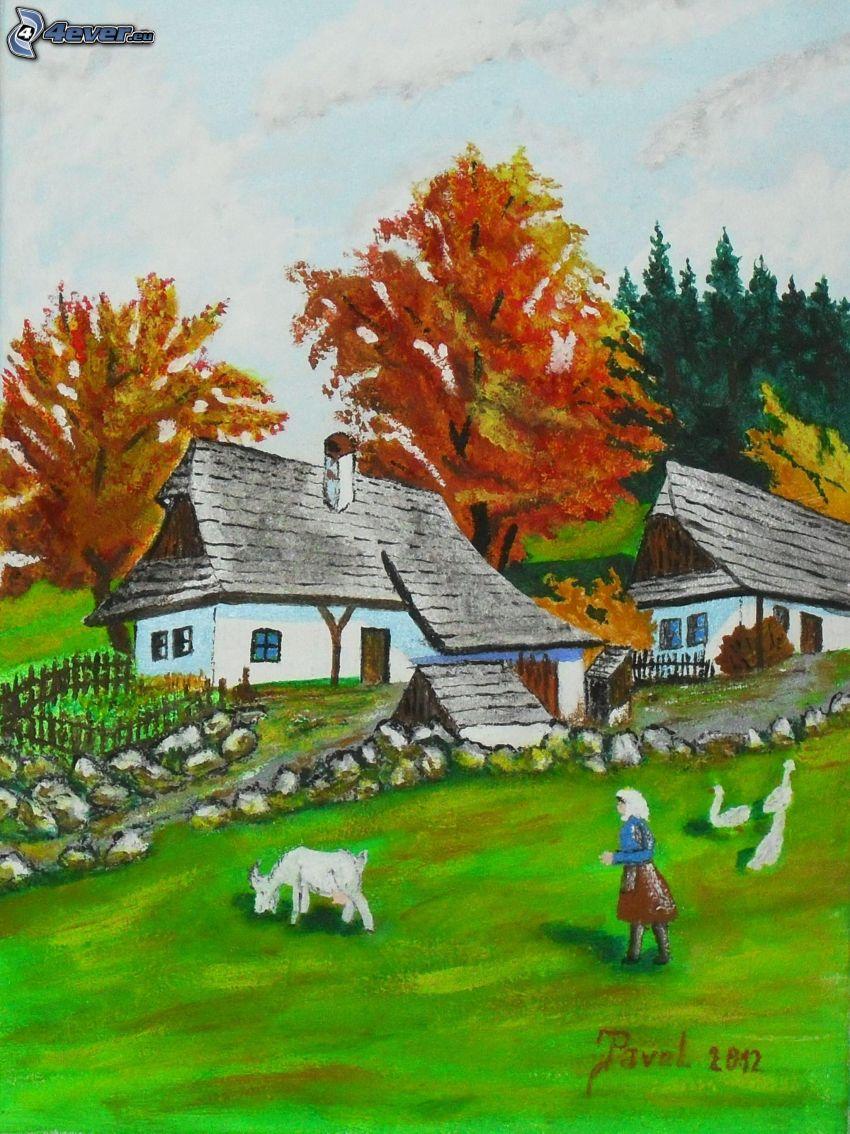 village, painted village, yellow trees, woman, shepherd