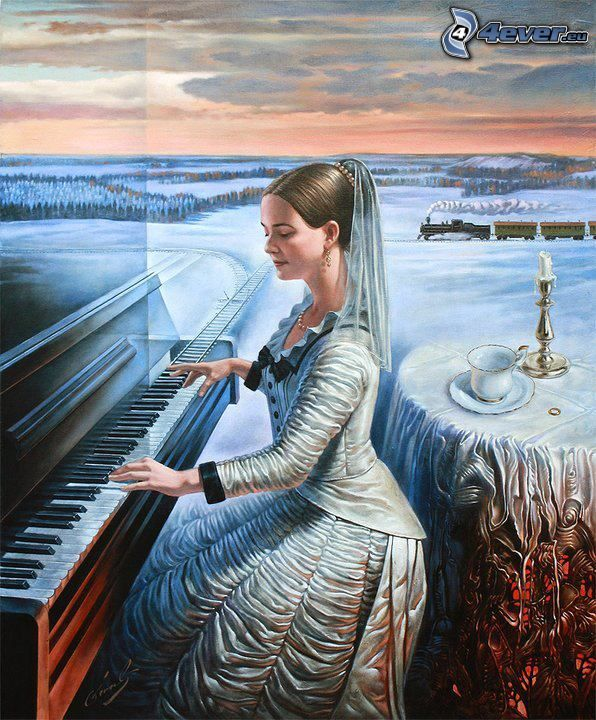woman behind the piano, play the piano, rails, train