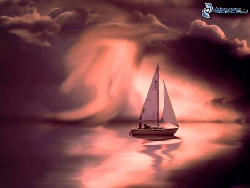 yacht, sailing boat, clouds, glow