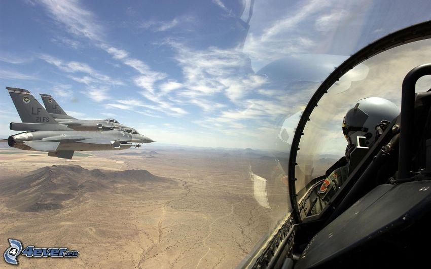 a squadron of F-16, pilot