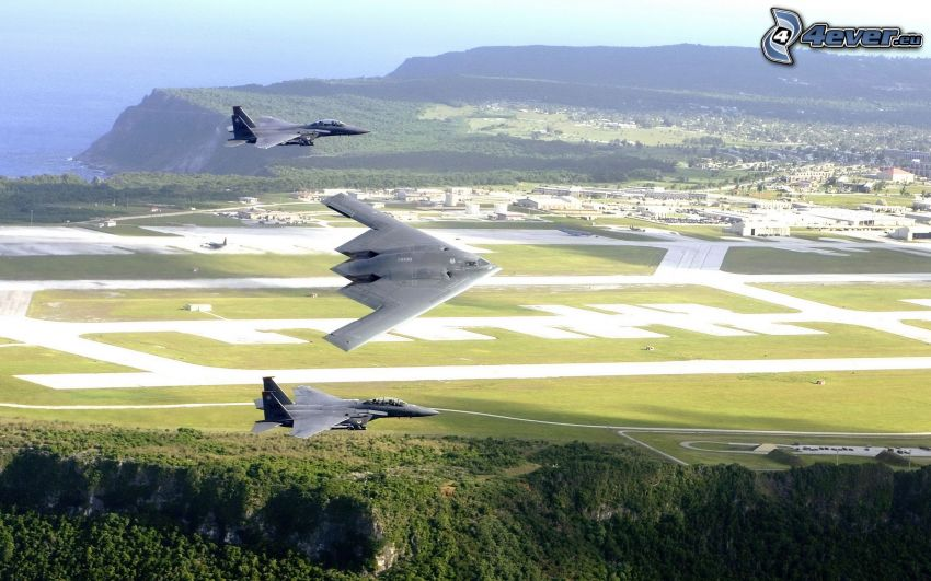 B-2 Spirit, F-15 Eagle, airport, fields