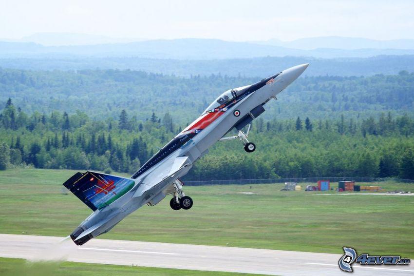 CF-188 Hornet, take-off, forest