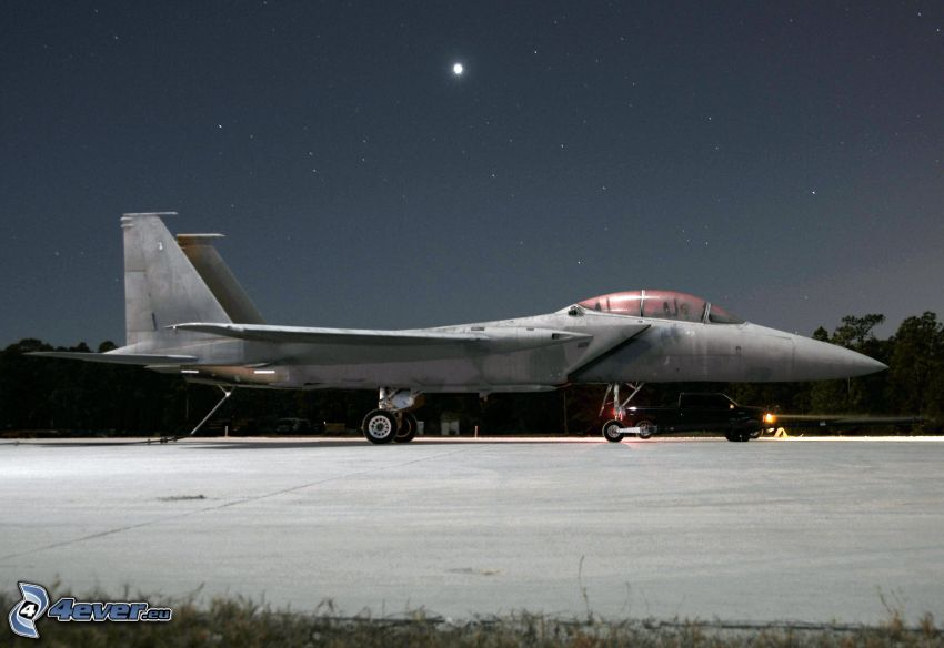 F-15 Eagle, airport, starry sky