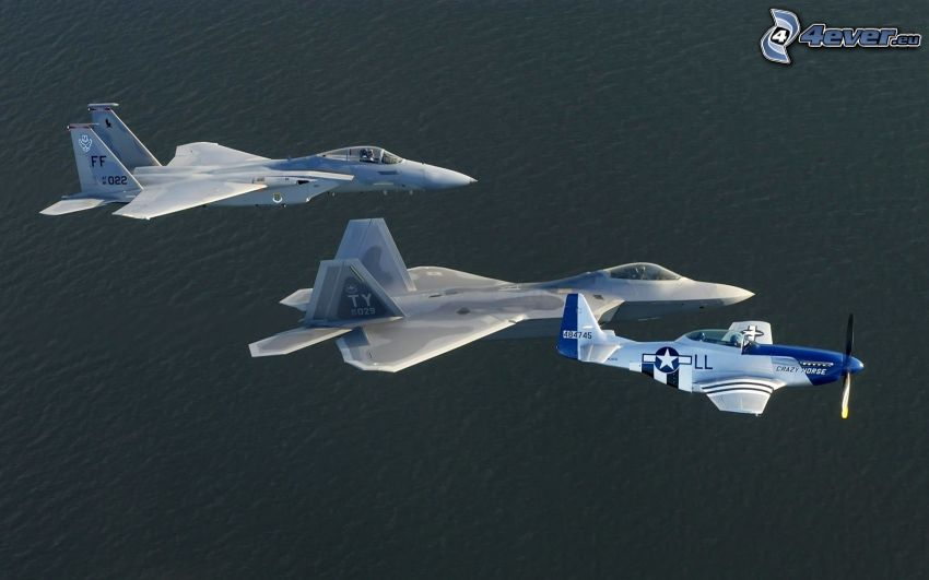 F-15 Eagle, F-22 Raptor, P-51 Mustang