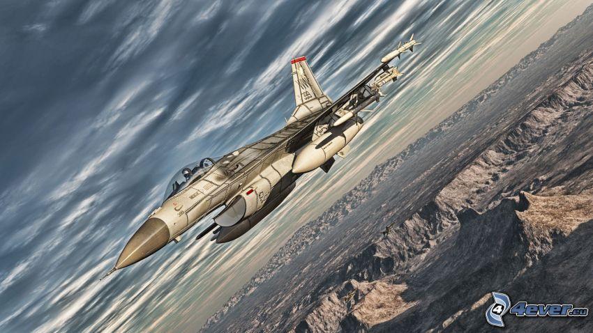 F-16 Fighting Falcon, dark clouds