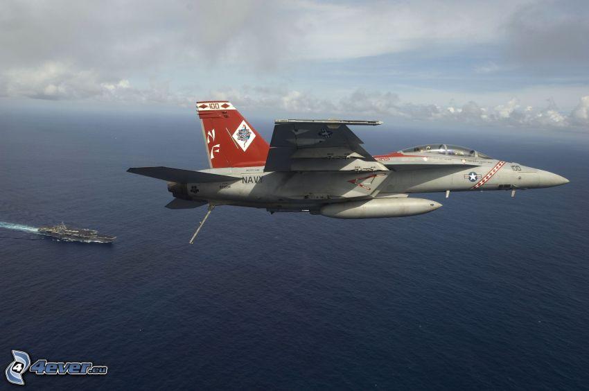 F/A-18E Super Hornet, aircraft carrier, sea
