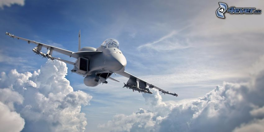 F/A-18E Super Hornet, clouds