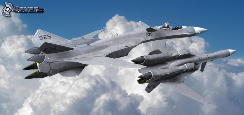 fighters, Macross, clouds
