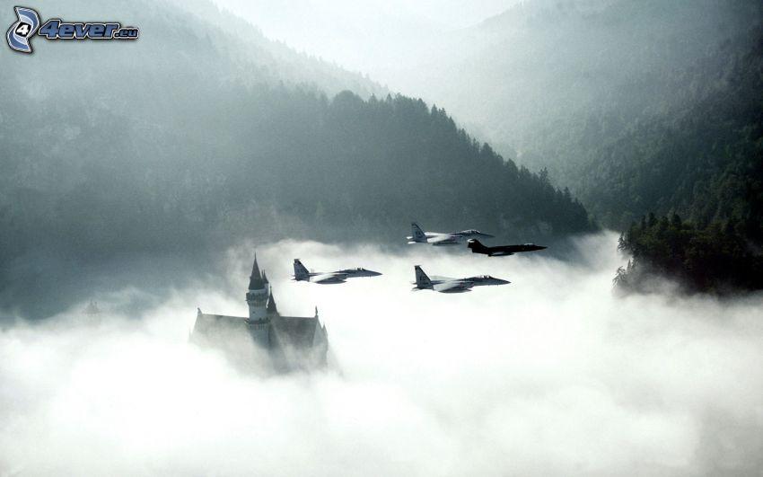 Fleet of F-15 Eagle, F-104, Neuschwanstein in the fog, mountains