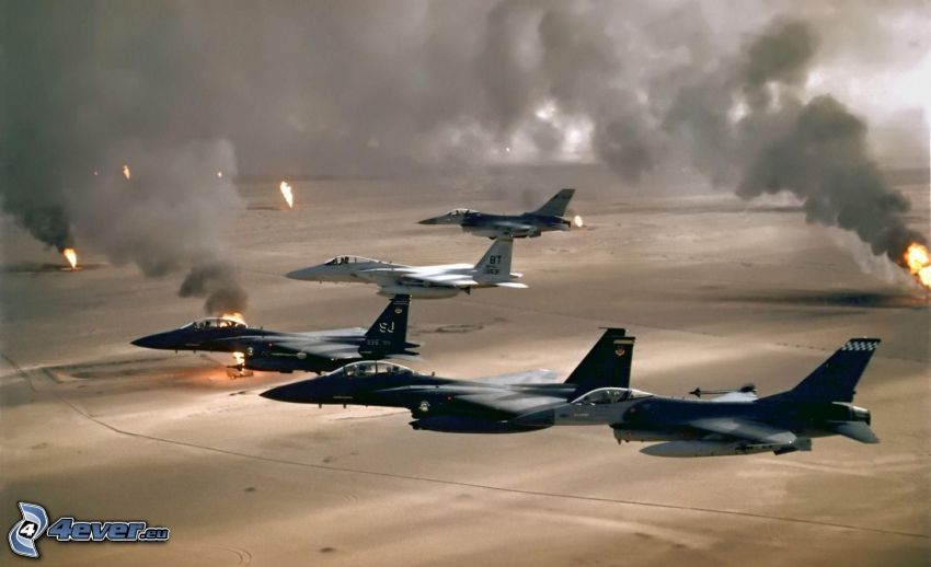 Fleet of F-15 Eagle, fighters, explosion, flames, smoke