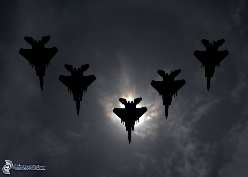 Fleet of F-15 Eagle, silhouettes of jet fighters