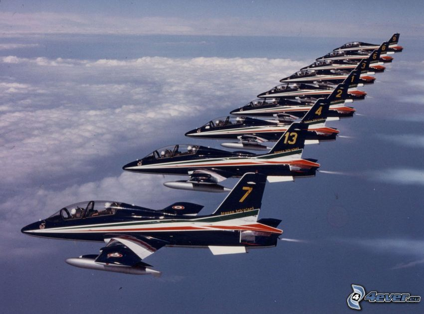 formation, fighters, over the clouds