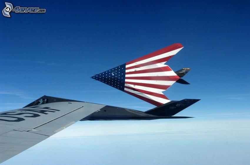 Lockheed F-117, american flag