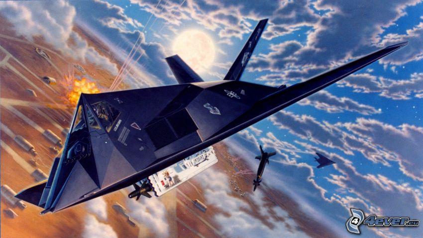 Lockheed F-117, clouds, cartoon