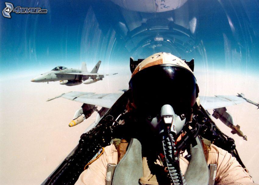 pilot in jet fighter, cockpit, F/A-18 Hornet