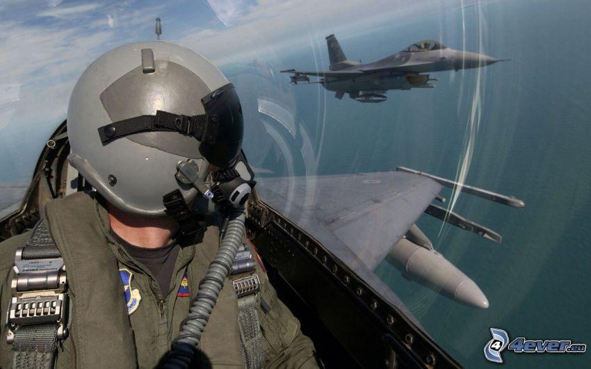 pilot in jet fighter, F-15 Eagle