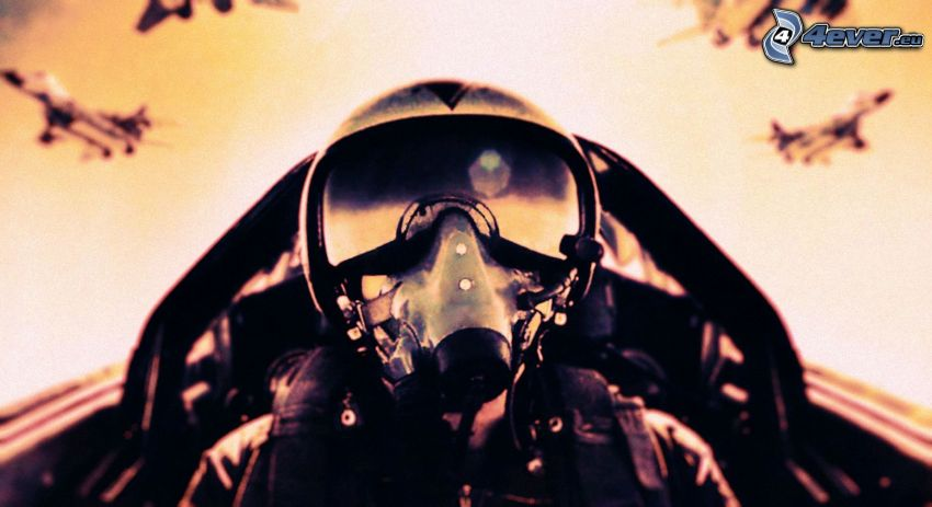 pilot in jet fighter