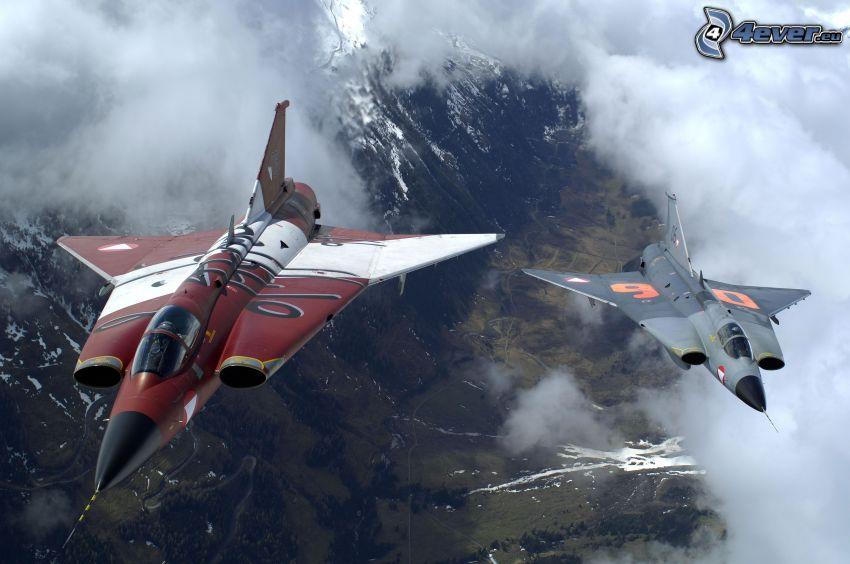 Saab J-35 Draken, fighters, clouds, hills